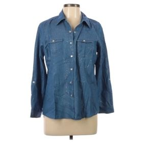 Cathy Daniels cambray Button-Down shirt size L